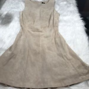 Oasis Beige Suede Sz 8/ 34 Fitted Full Dress Women